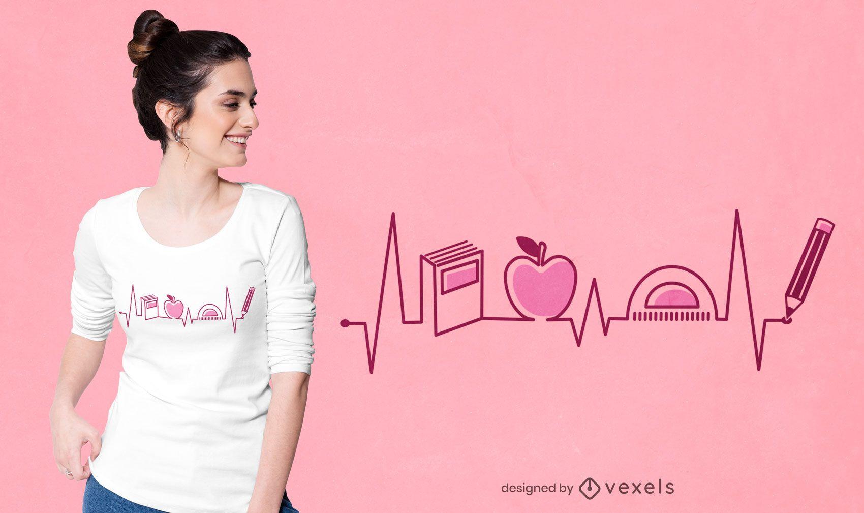 Diseño de camiseta de latido del corazón del maestro
