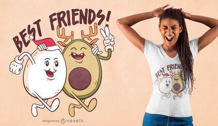 Diseño de camiseta de amigos navideños.