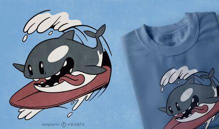 Design de camiseta da orca surfando