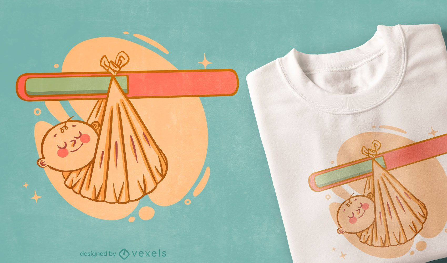 Baby wrapped t-shirt design