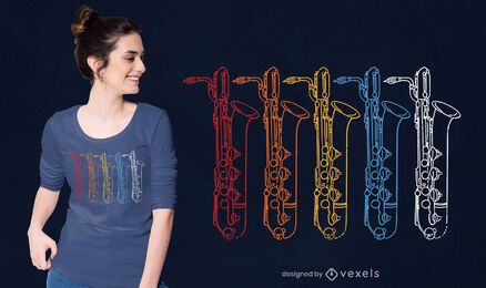 Diseño de camiseta de colores de saxofón.