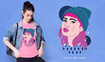 Diseño de camiseta Beanie Girl