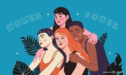 Ilustração de mulheres abraçando poder