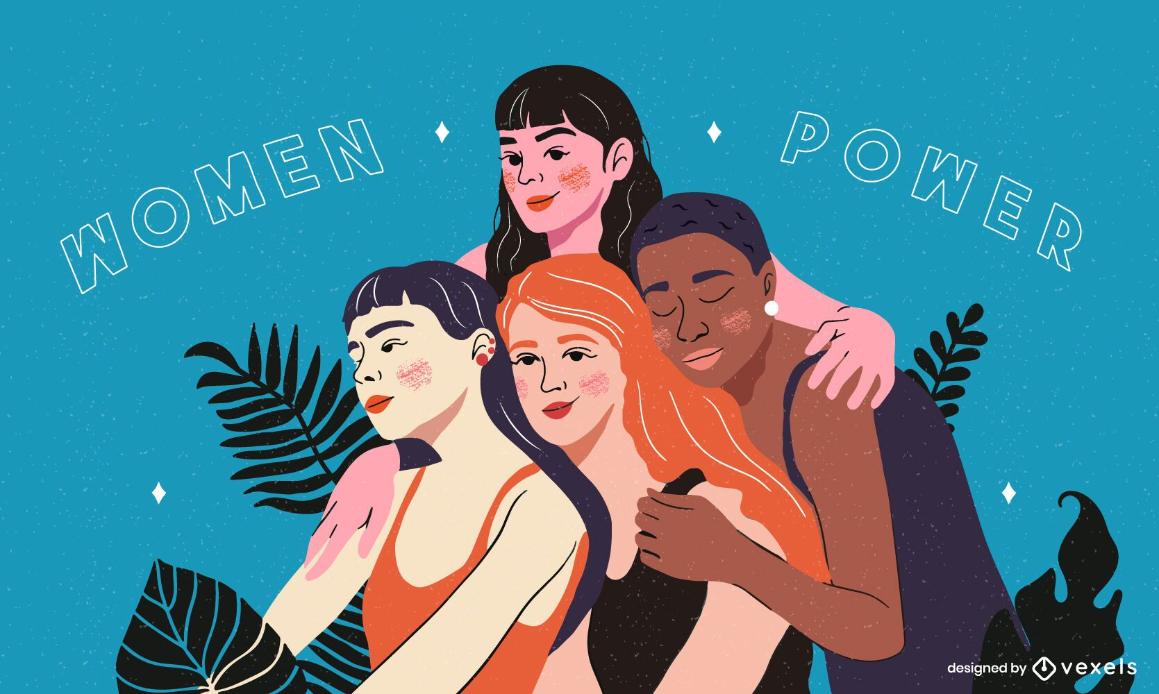 Women power hugging illustration