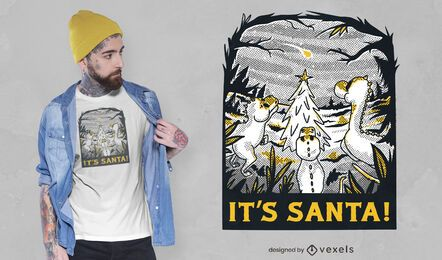 Diseño de camiseta de dinosaurios navideños.