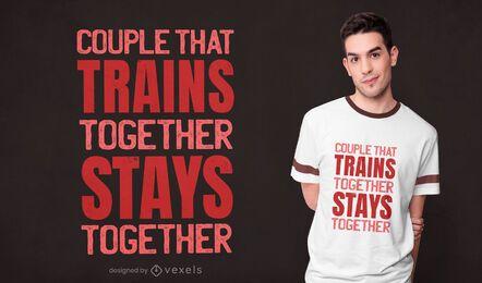 Diseño de camiseta de entrenamiento de pareja.