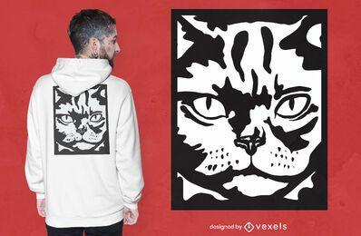 Diseño de camiseta de gato serio