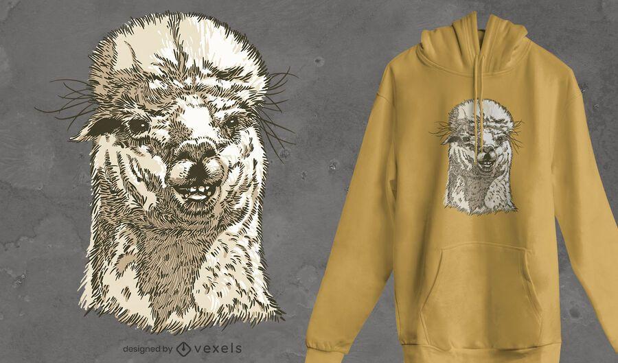 Diseño de camiseta con cara de alpaca