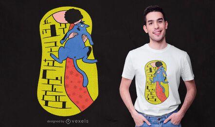 O design da t-shirt da paródia do beijo