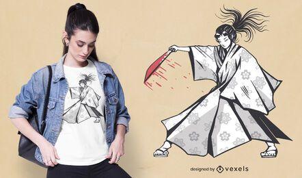 Design de camiseta de mulher samurai