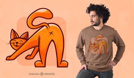 Cat stretching t-shirt design