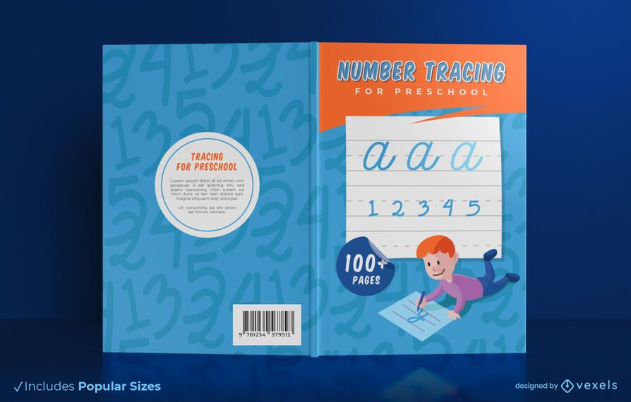 Number tracing book cover design