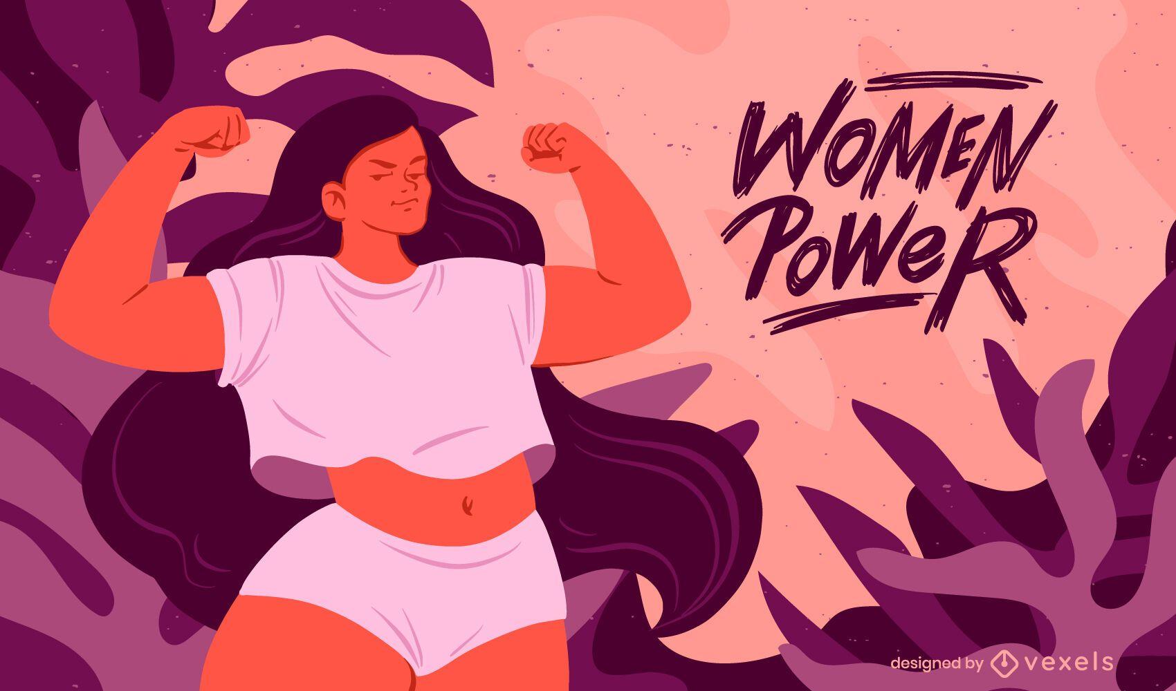 Ilustração de força feminina de bíceps flexionados