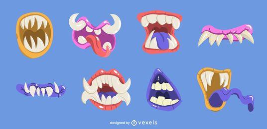 Conjunto de boca de monstro