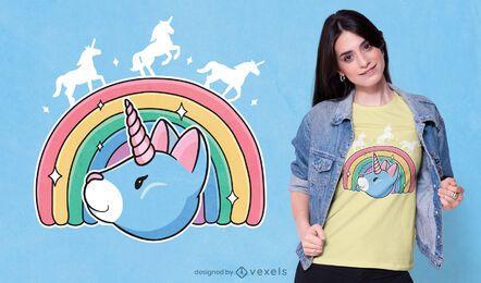 Diseño de camiseta de gato unicornio