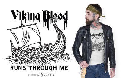 Diseño de camiseta de sangre vikinga.