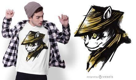 Diseño de camiseta de gato samurai
