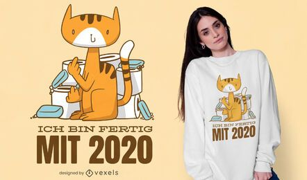 Feito com design de camiseta de gato de 2020
