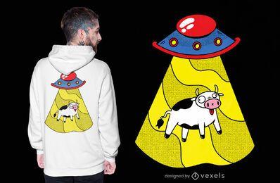 Diseño de camiseta de vaca ovni