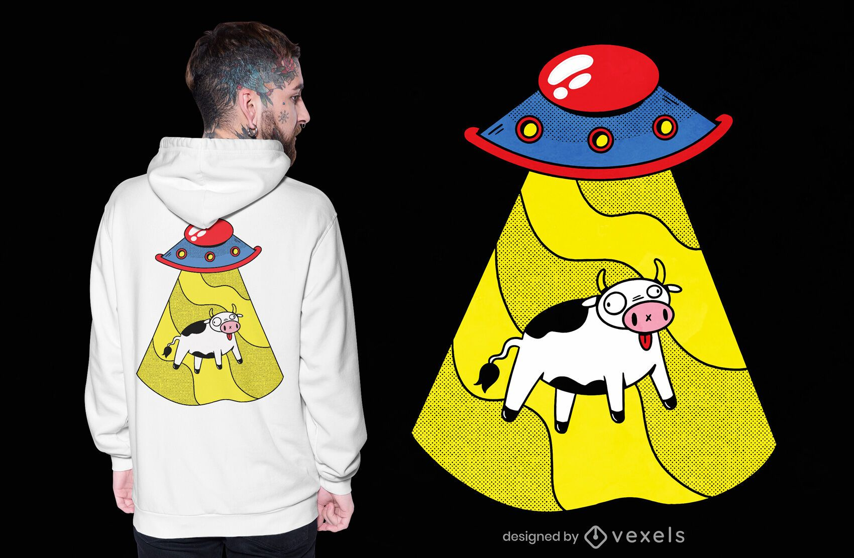 Ufo cow t-shirt design