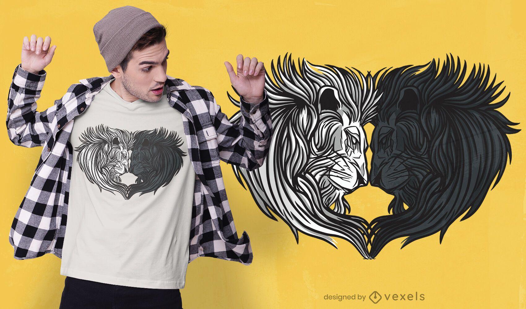 Diseño de camiseta de corazón de león