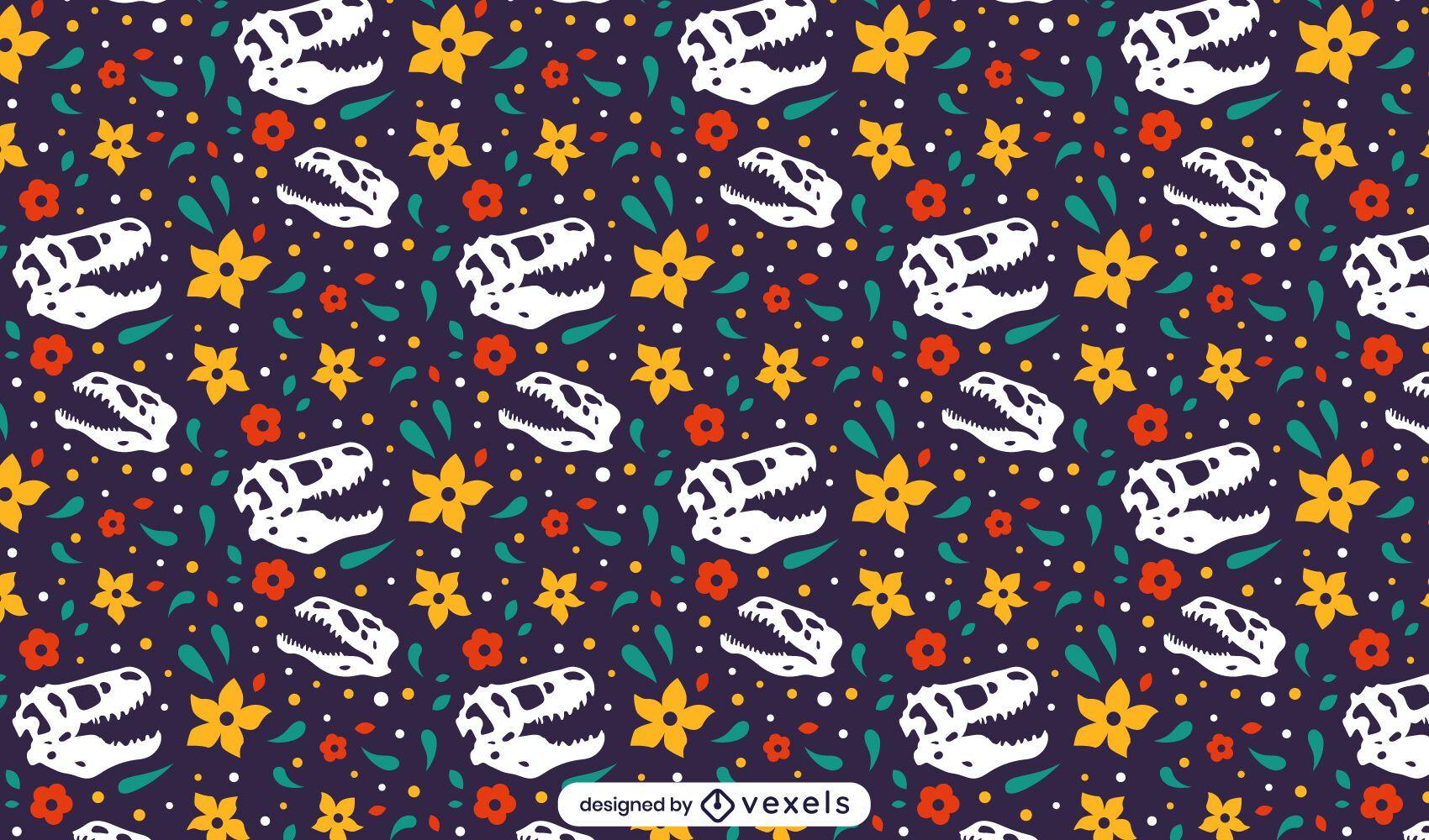 Desenho de padrão de crânio de dinossauro