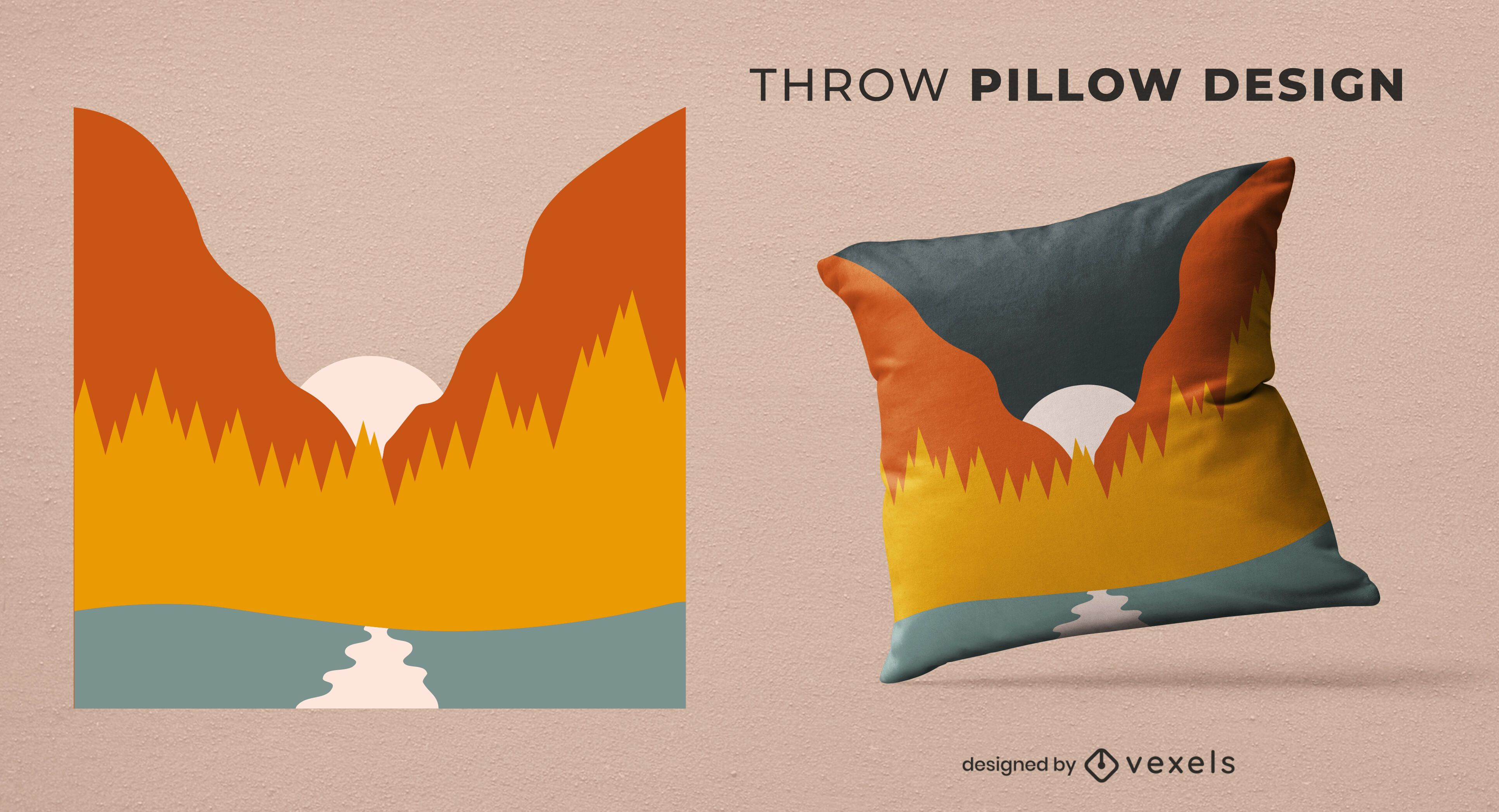 Abstract landscape throw pillow design