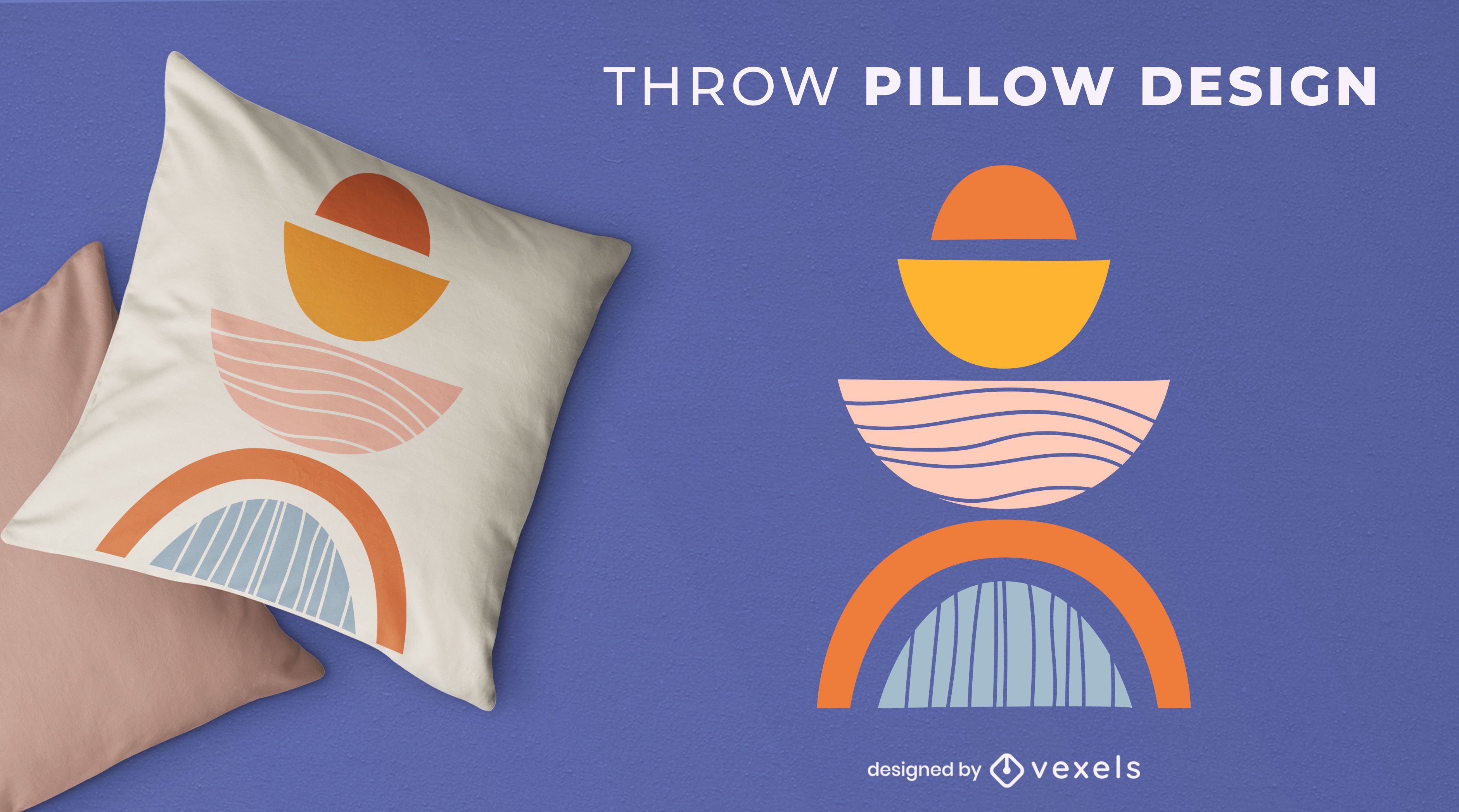 Abstract shapes throw pillow design