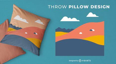 Design abstrato de almofadas com montanhas