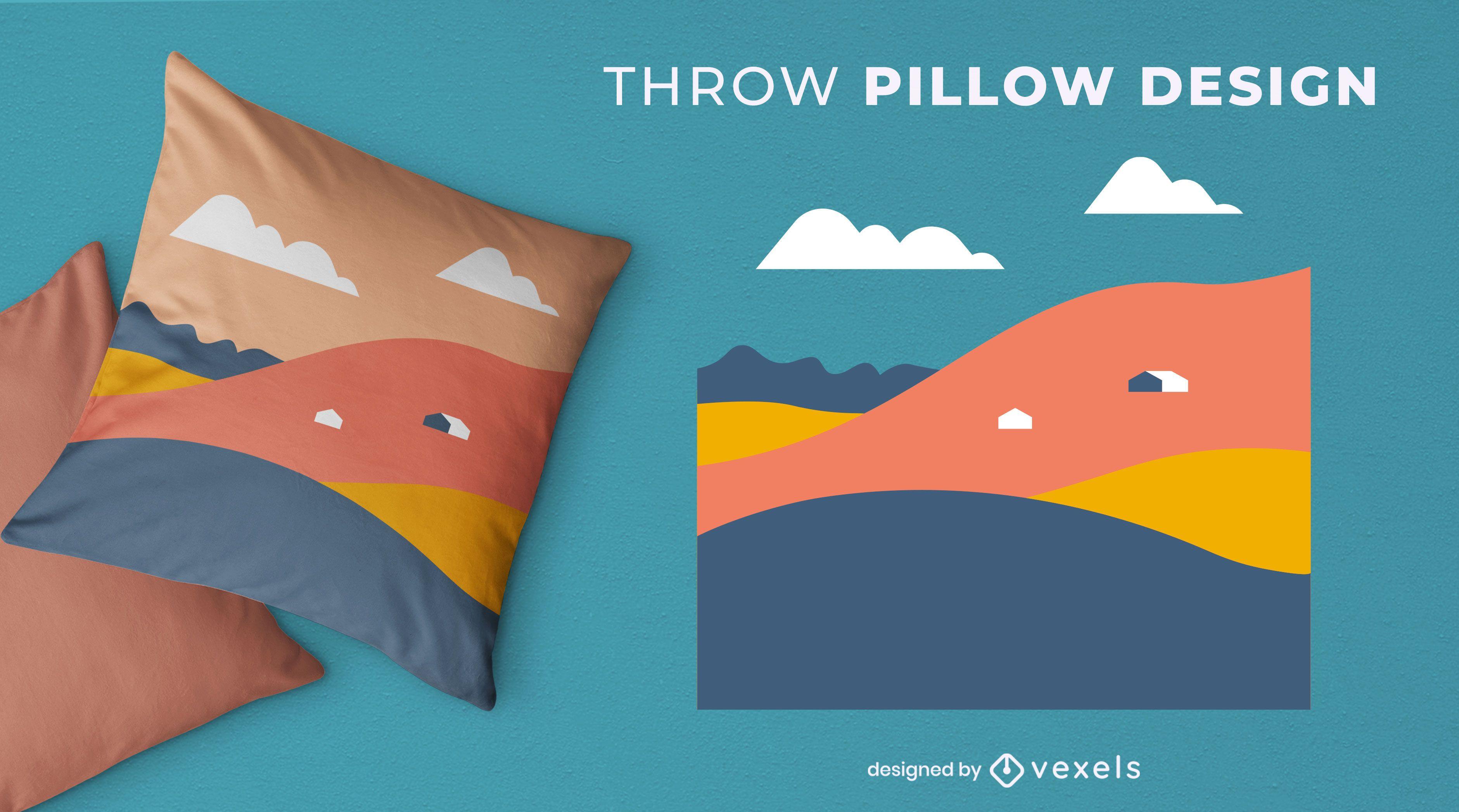 Abstract mountains throw pillow design