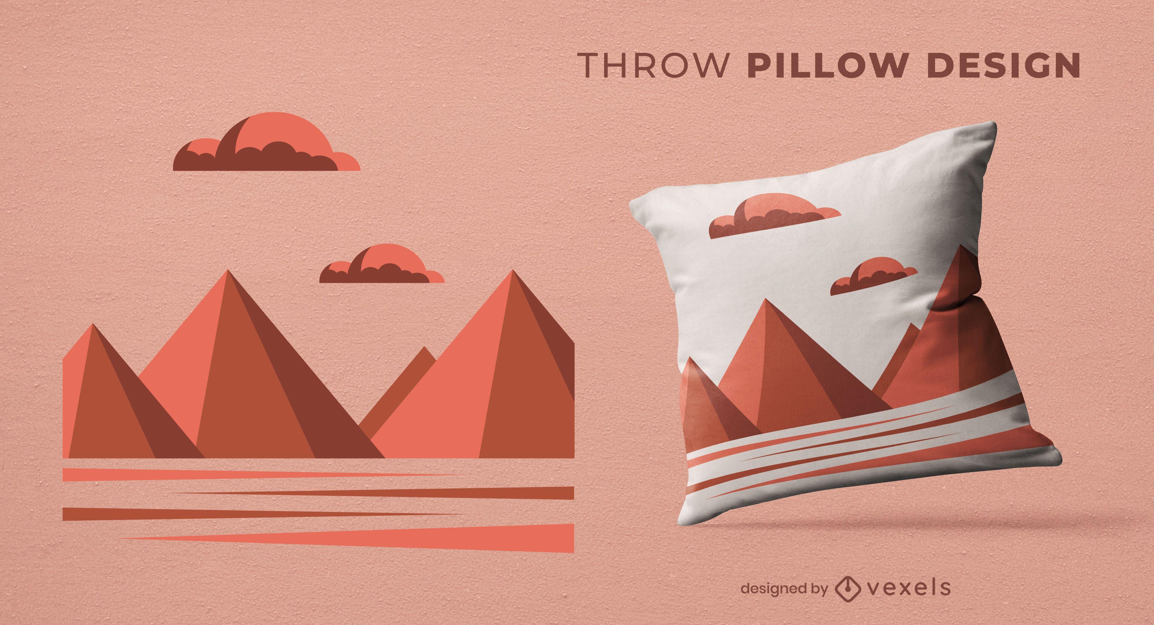 Geometric mountains throw pillow design