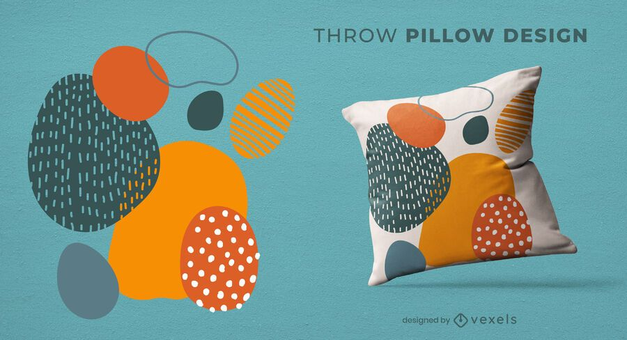 Artistic shapes throw pillow design