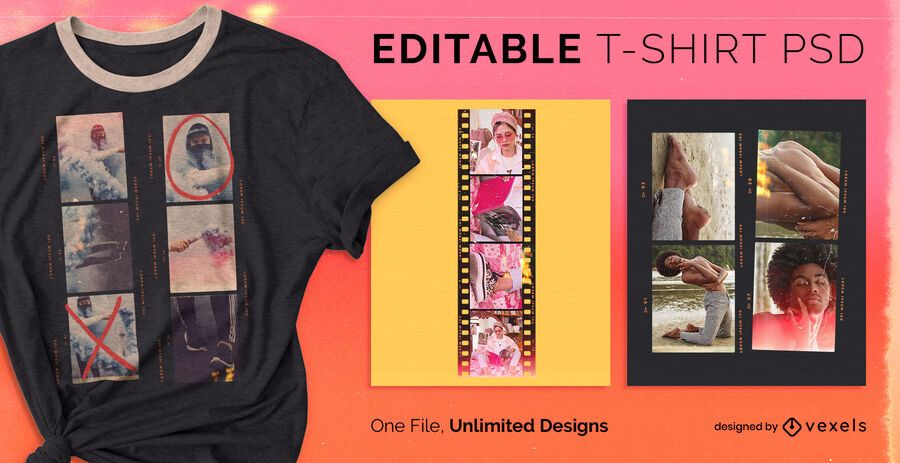 Film scalable t-shirt psd