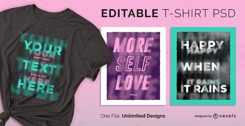 T-shirt escalável com texto desfocado psd