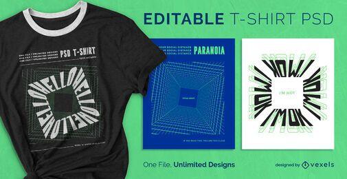 Camiseta digital cuadrada escalable psd