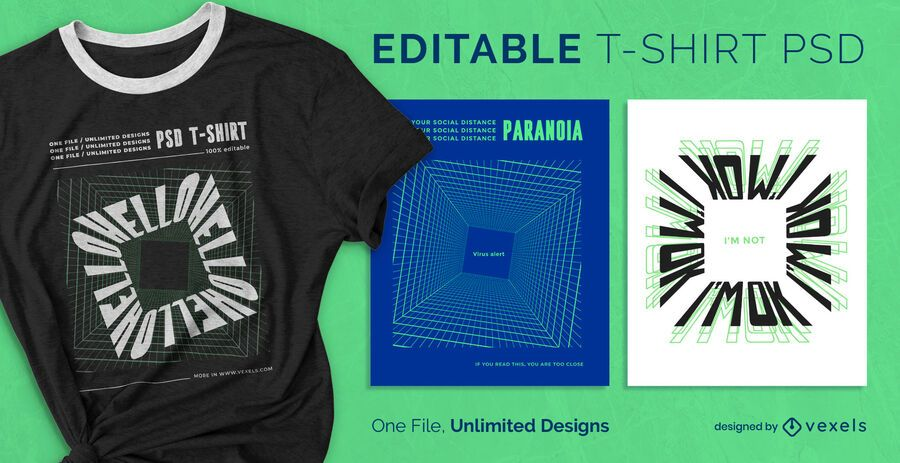 Digital square scalable t-shirt psd