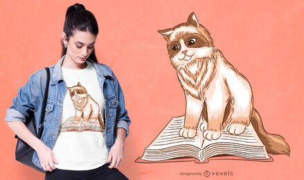 Cat reading t-shirt design