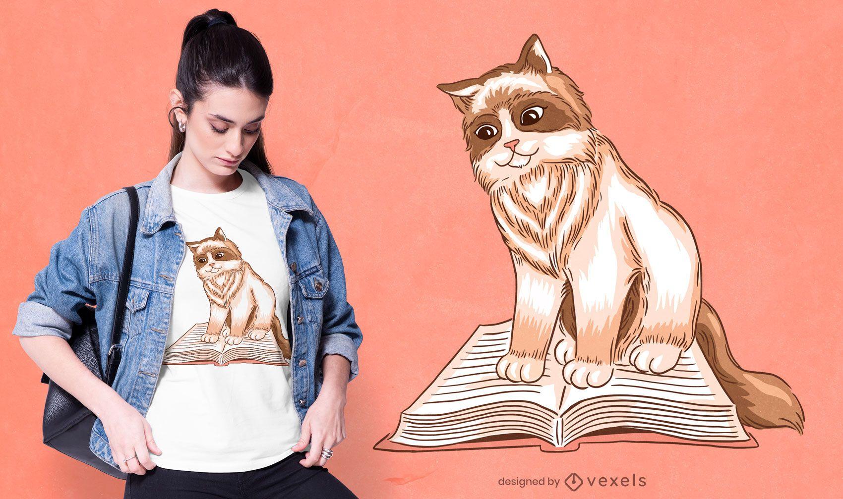 Diseño de camiseta de gato leyendo