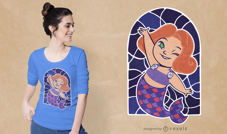 Diseño de camiseta de sirena bebé