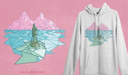 Diseño de camiseta de remo poligonal
