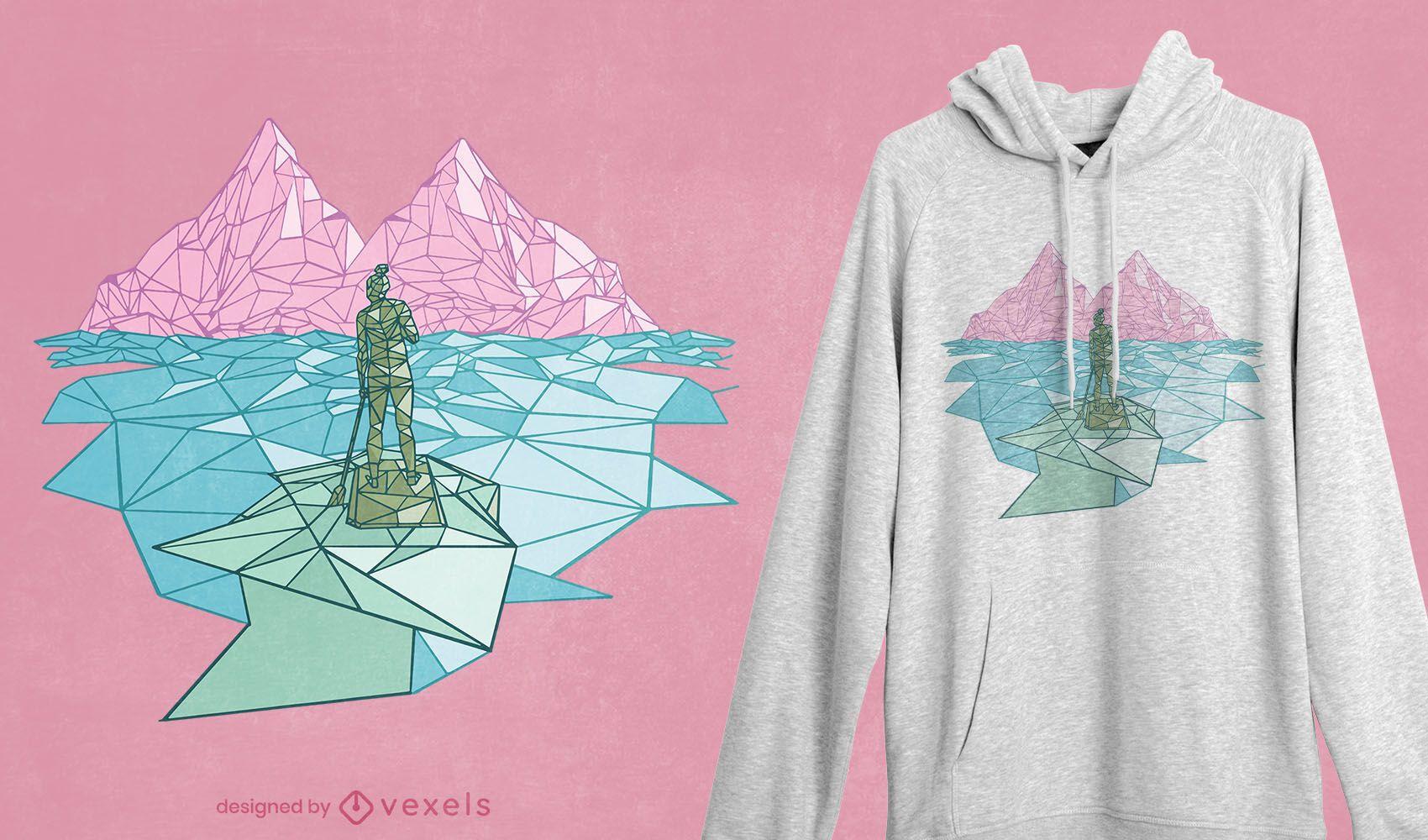 Polygonal paddling t-shirt design