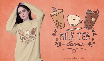 Diseño de camiseta de alianza de té de leche.