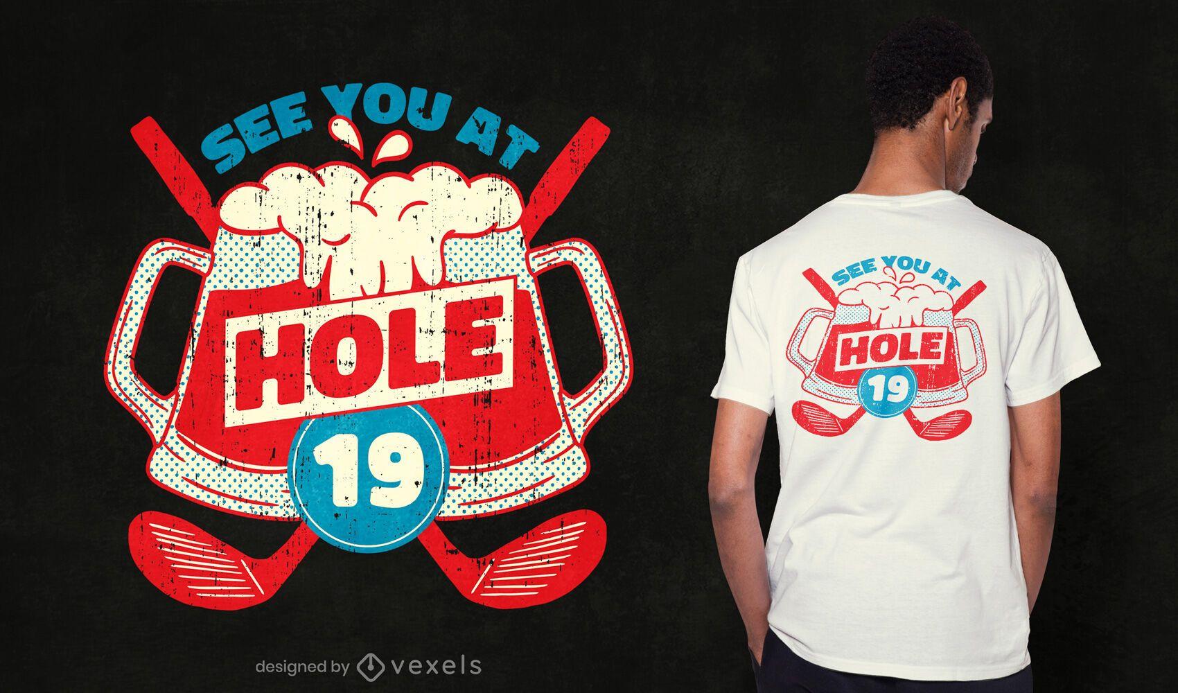 Diseño de camiseta de golf del hoyo 19
