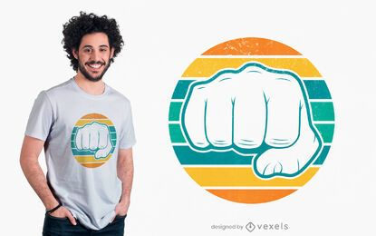 Design retro de t-shirt de punho