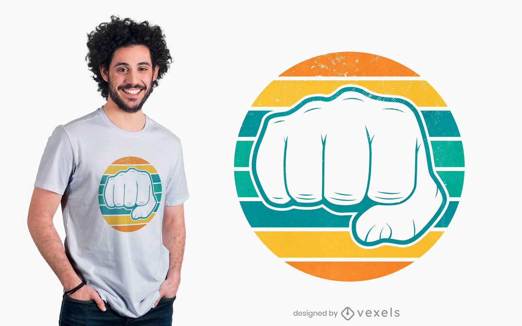 Retro fist t-shirt design