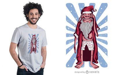 Design de camiseta do Papai Noel Sonolento