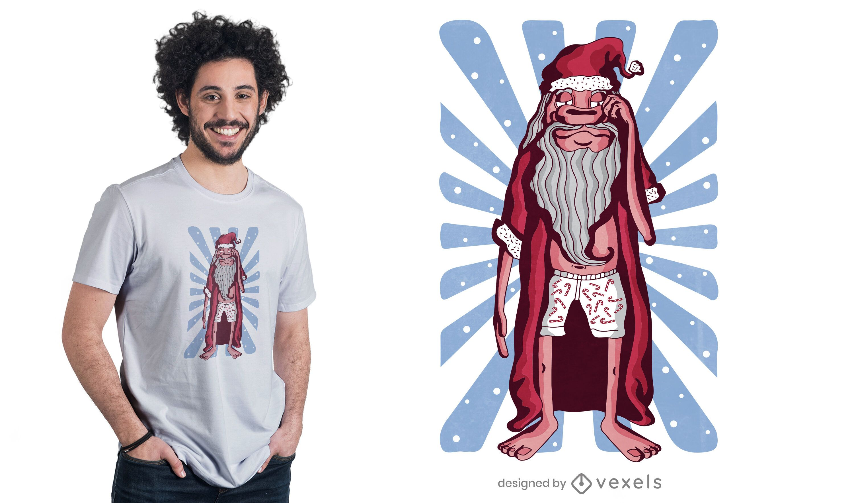 Diseño de camiseta Sleepy Santa