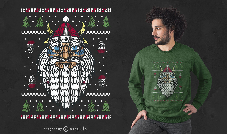 Design de t-shirt do Papai Noel Viking