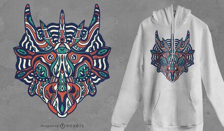 Design de t-shirt Mandala triceratops