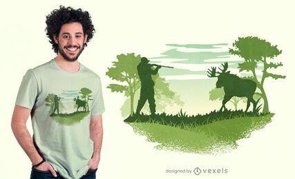 Diseño de camiseta de caza de alces.